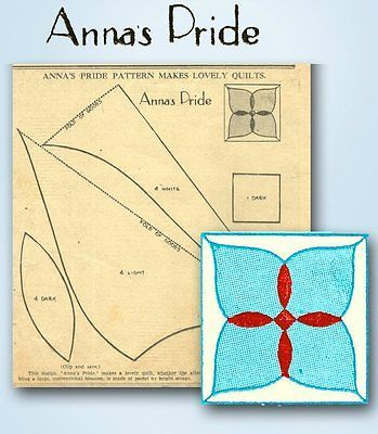 1930s Original Kansas City Star Newspaper Anna's Pride Quilt Block Pattern | eBay