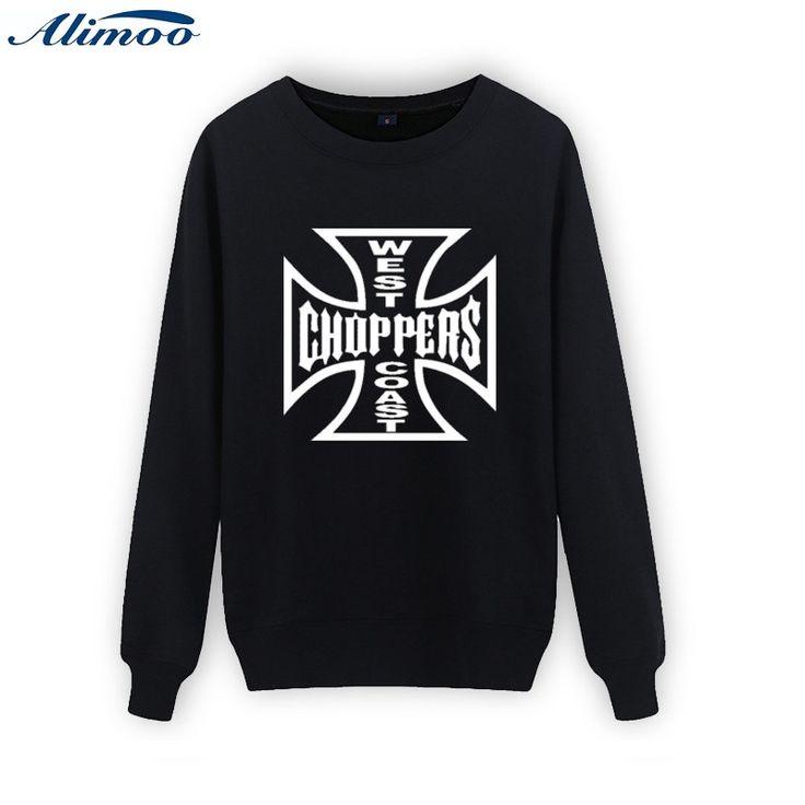 Alimoo 2016 mens hoodies and sweatshirts west coast choppers sweatshirts Crewneck Sportswear fashion black thin hoodie