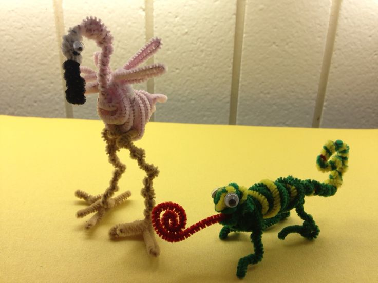 Pipe cleaner animals - flamingo and chameleon