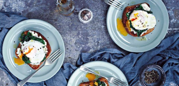 Fast Food - Cookery – July 2016 Poached Eggs, Goat's Cheese & Spinach on Toast