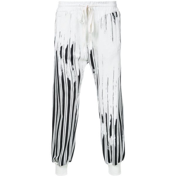 Haider Ackermann striped trousers ($1,145) ❤ liked on Polyvore featuring men's fashion, men's clothing, men's pants, men's casual pants, white, mens striped pants, mens cotton pants, mens white pants and mens white cotton pants