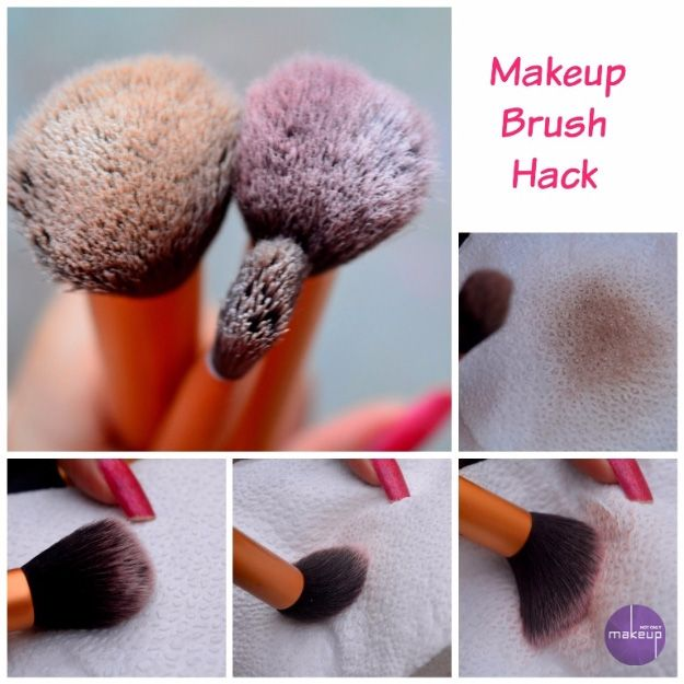 Cool Tips for Your Makeup Brushes - Makeup Brush Hack- Easy Step By Step Tutorials And Hair Tips Every Girl Should Know To Get The Style And Look They Want Using A Flat Iron. Videos and Image How To's That Provide Simple Tips and Tricks For Using A Flat Iron To Get Hairstyles Quickly And Without Lots of Beauty Products - thegoddess.com/hairstyles-flat-iron