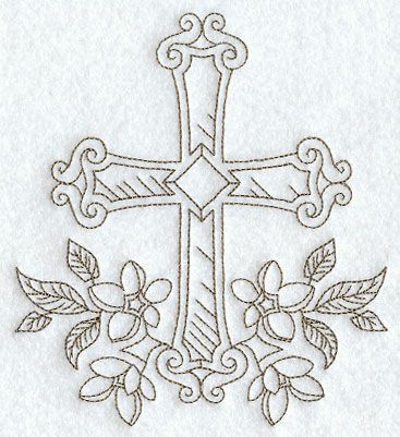 """Cross with Flowers (Redwork) ~ So I realize this is a different type all together of """"Needle""""work...but would be a gorgeous tatttoo! =)"""