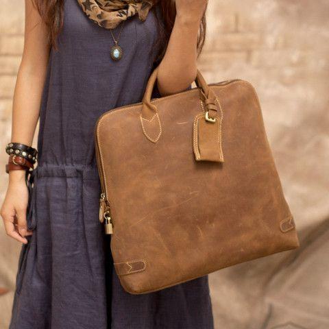 TOKHAROI Handmade Freedom Leather Tote Bag