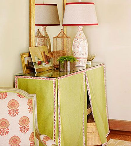 use a table skirt to cover hidden storage better homes and gardens skirted hall table