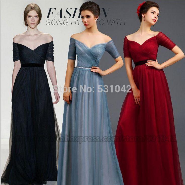 Aliexpress.com'da Vivian-dresses üzerinden Yüksek Kalitetede Abiye,seksi yarım kol kapalı omuz bordo mavi uzun tül resmi gece elbisesi yarışmasında gelinlik C224 hakkında daha fazla Abiye bilgi elde edin.