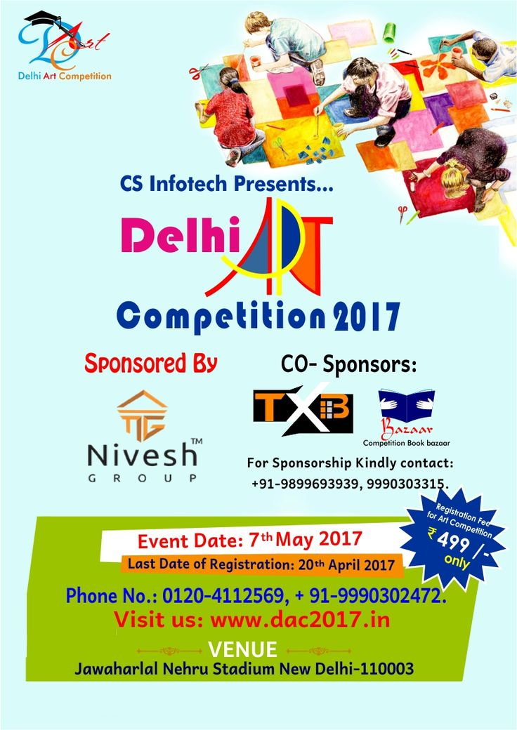 #DAC2017 #DelhiartCompetition2017 Dac2017 is going to be held on 7th May and the competition will start at 9:30 AM. The Venue is Jawaharlal Nehru Stadium, New Delhi. To register for DAC2017, kindly visit us at https://www.dac2017.in/