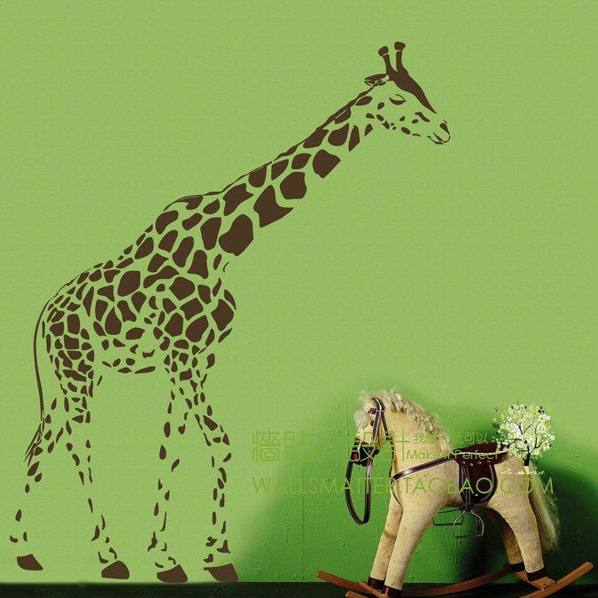 Free Shipping Cartoon glass giraffe sofa light wall stickers wall art decals 100 x 60CM(China (Mainland))