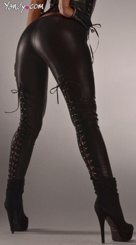 Back Lace Up Wet Look Leggings, Sexy Black Wet Look Leggings