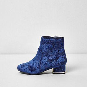 Girls navy velvet embossed boots