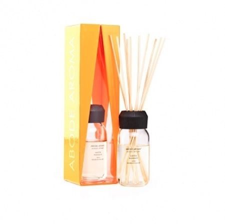 Abode Aroma Neon Diffuser – Vanilla Mandarin. The zesty tang of orange, tangerine and mandarin segments dusted with vanilla powder and crushed flower petals.  120ml diffuser.