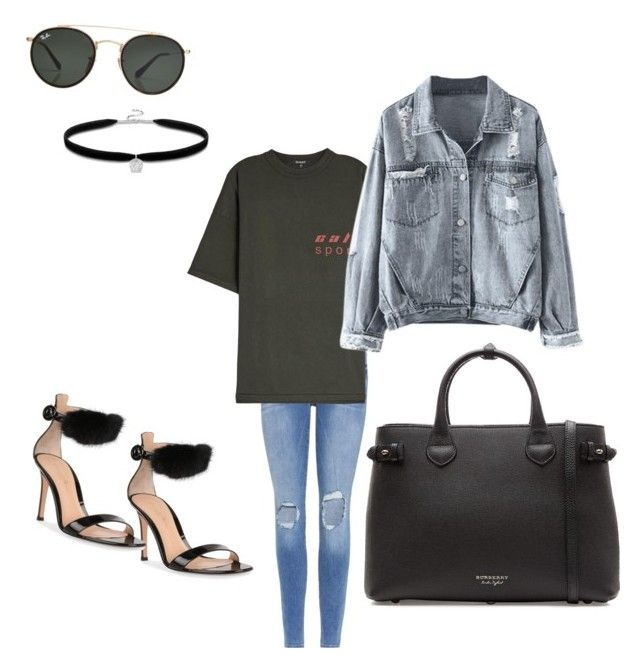 """""""Sans titre #104"""" by miachic on Polyvore featuring mode, Frame, Yeezy by Kanye West, Gianvito Rossi, Ray-Ban et Burberry"""