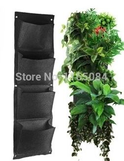Novelty 4 Pockets Vertical Garden Planter Wall-mounted Polyester Home Gardening Flower Planting Bags Living Indoor Wall Planter