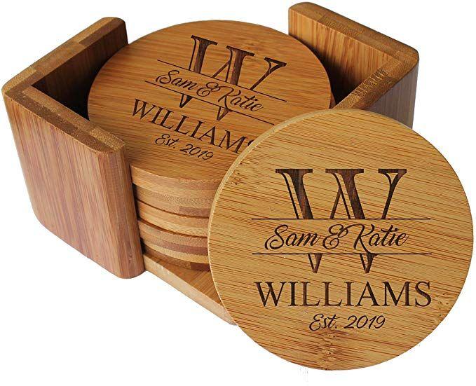 Amazon Com Custom Engraved Bamboo Wood Coasters Personalized Coaster Set For Drinks Wedding Engraved Coasters Wood Coasters Wedding Engraved Wood Coasters