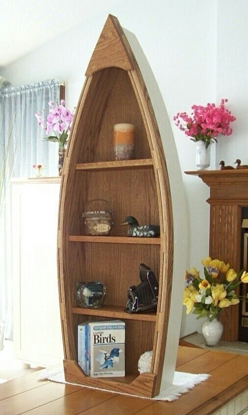 Handcrafted 4 Foot Wood Row Boat Bookcase Shelf Shelves Canoe