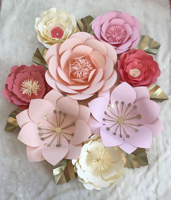 Large 8 Piece Nursey Set Paper Flowers by ArielleEliseDesigns