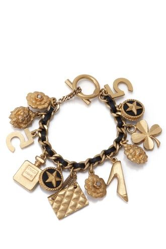 Vintage Chanel Leather Charm Bracelet with 18K Gold Plated Hardware and Classic Chanel Charms <3<3