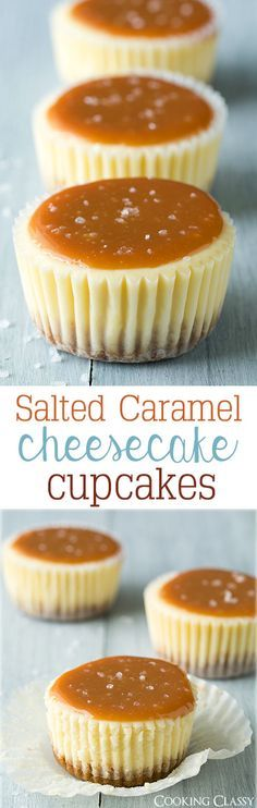Salted Caramel Cheesecake Cupcakes - these are one of my favorite desserts! So so good!(Baking Cheesecake)