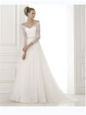 2015 White A Line Sweetheart Beads Long Sleeves Tulle Wedding Dresses Bridal Gowns AWD420390
