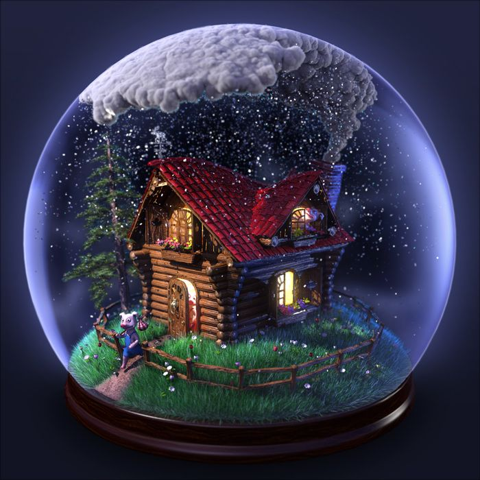 An 3D illustration using popular fairy tale characters, the three little pigs, to comment on green sustainable energy. Living in a snow glob...