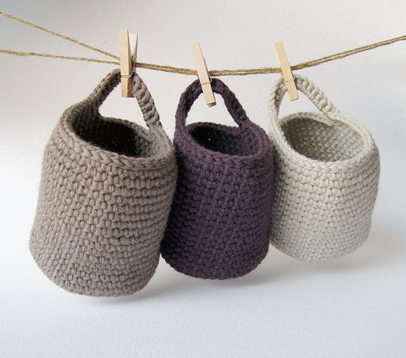 set of 3 crocheted storage baskets... taupe, violet and ecru.