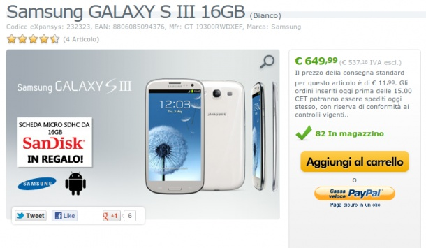 Samsung Galaxy S3 finalmente disponibile su Expansys