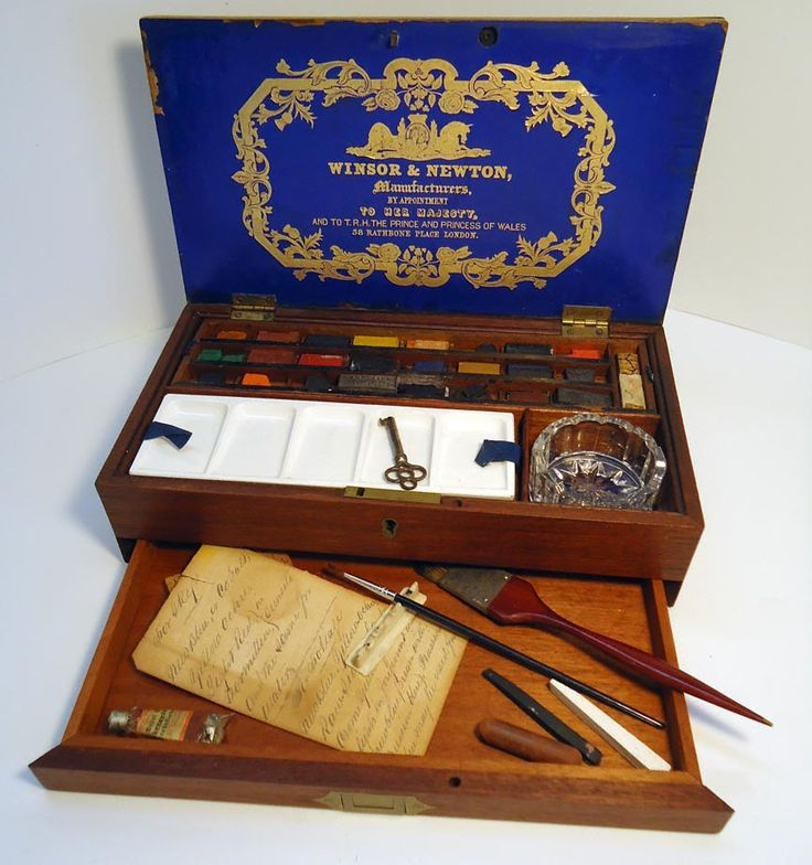 Antique watercolor box by Winsor & Newton was made around 1863