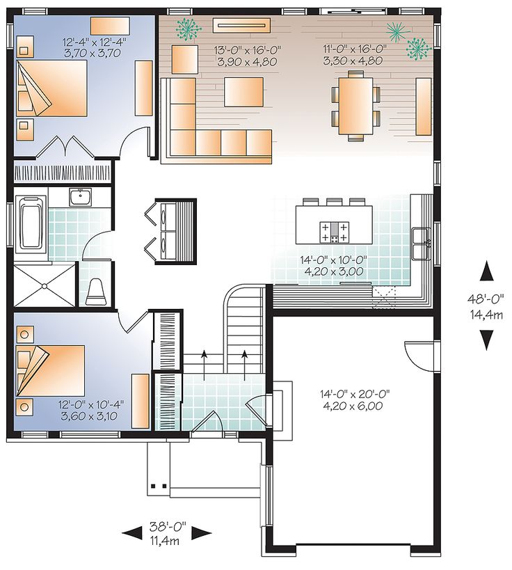 tell us what you think of this 1283 square ft floor plan - Attached House Plans