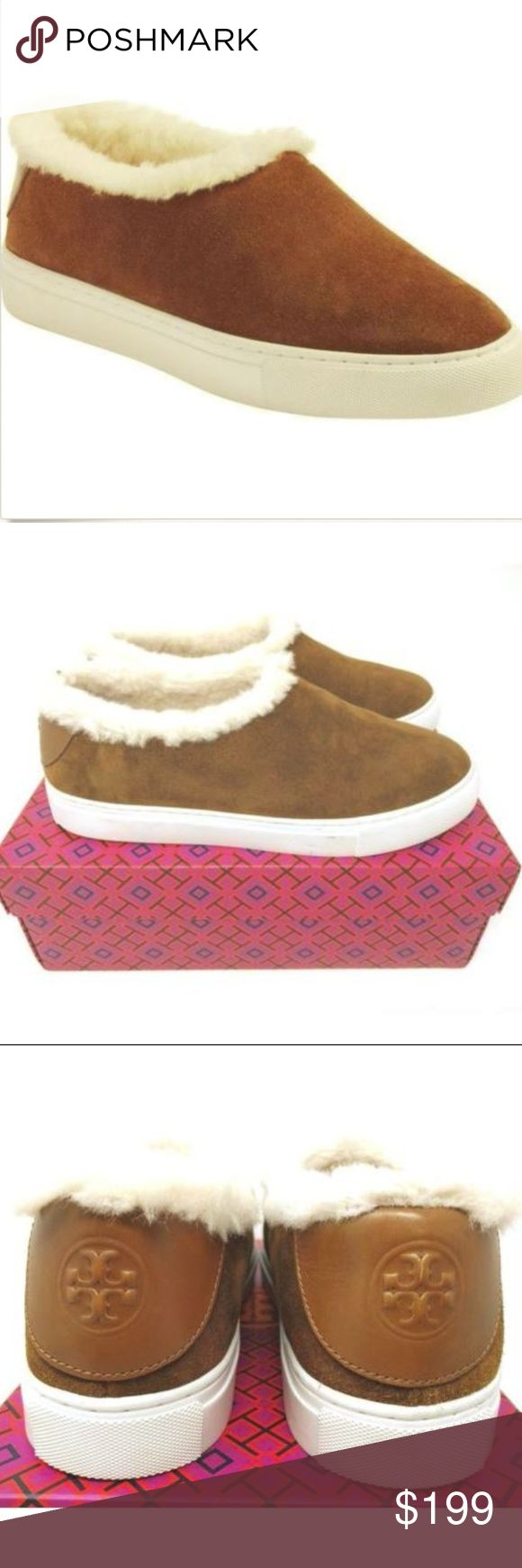 Tory Burch 8 Miller Shearling Lined Suede Sneakers Tory Burch 8 Festival Brown Miller Shearling Lined Suede Sneakers Shoes NEW $268  Nordstrom Rack clearance shoes have been tried on in store, which shows on the bottoms of the shoes. Fits true to size. Round toe; slip on. Real sheep fur; dyed; fur origin: Australia. Suede upper, sheep fur lining, rubber sole. Tory Burch Shoes Flats & Loafers