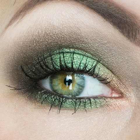 Go for green and gold tonight! This pop of color atop a smokey eye can be just t…
