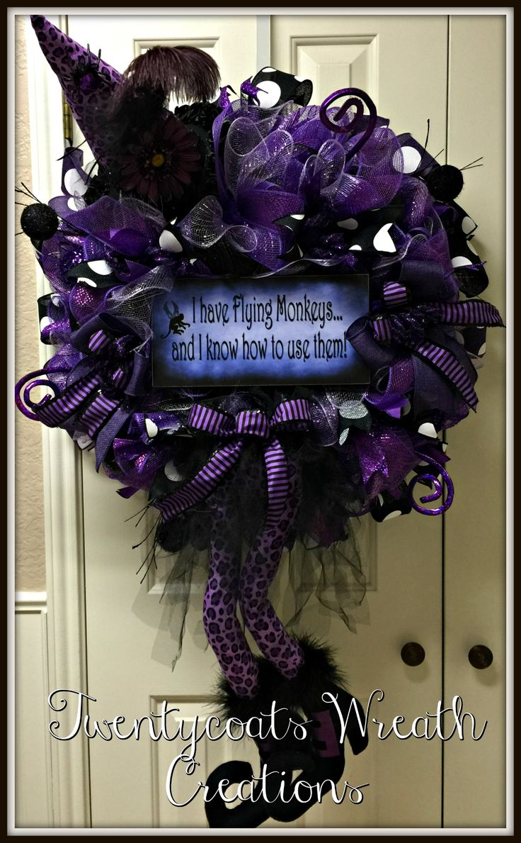 Purple leopard witch deco mesh wreath by Twentycoats Wreath Creations (2016)