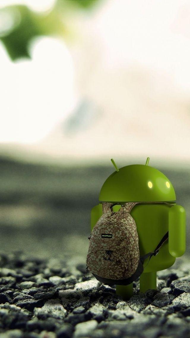640x1136 Обои андроид, android, зелёный, камни, рюкзак