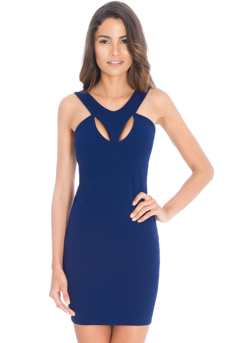 Cut Out Party Mini Dress - Navy - Front - DR576