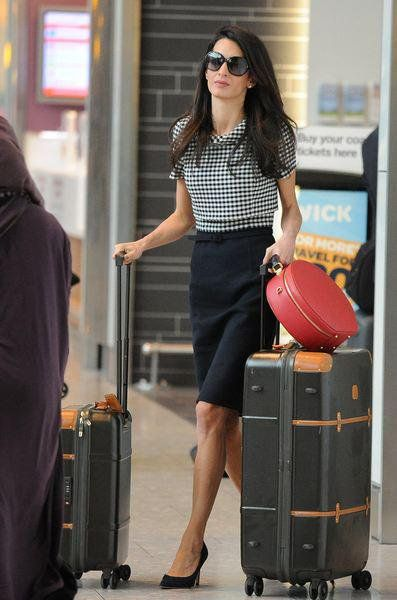 The ever elegant Amal Clooney with her olive Bric's Bellagio luggage. Now at Charles Ford - http://www.charlesfordlondon.com/brands/bric-s