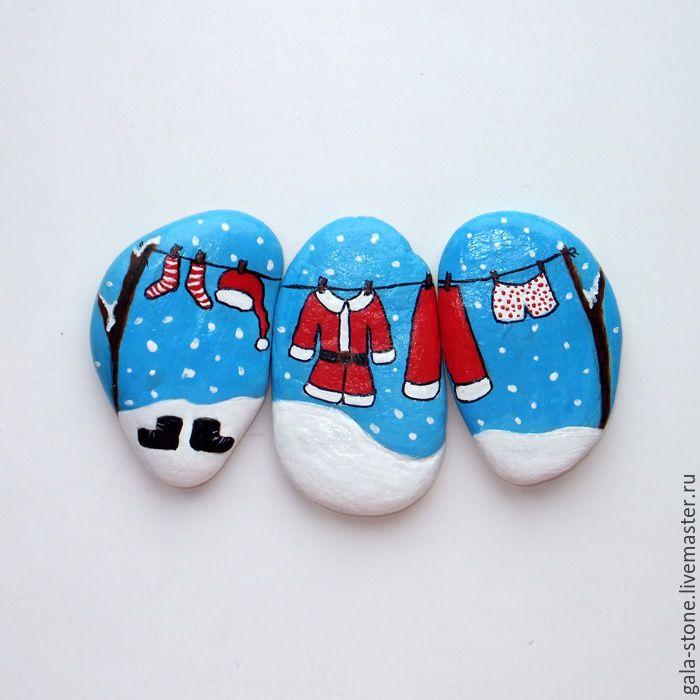 Hand painted rocks | Купить Подготовка к Новому году - голубой, Новый Год, подарок на новый год, сувениры ручной работы