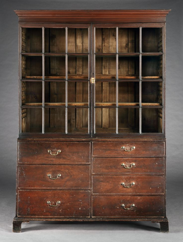 Robert Young Antiques Collection: Vernacular Georgian Architectural Bookcase. original grain painted and Well Patinated Pine. English, North Country, c.1780