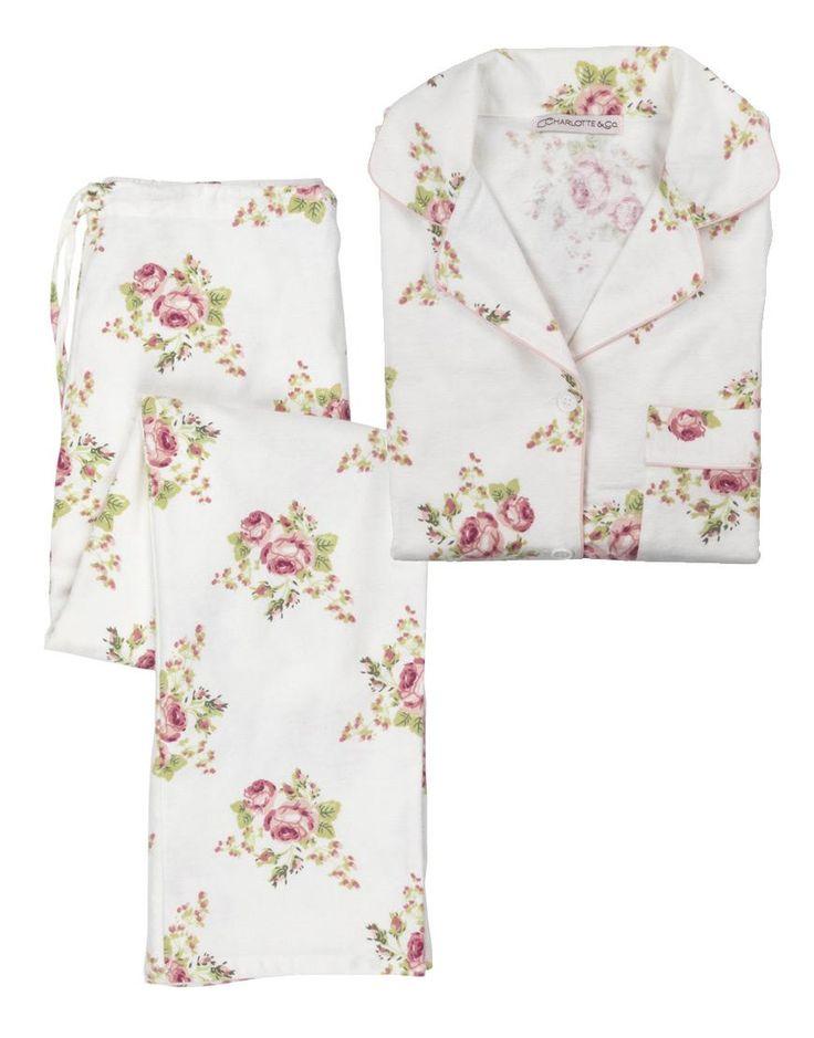 Brushed Cotton Flannel Pyjamas - Flower