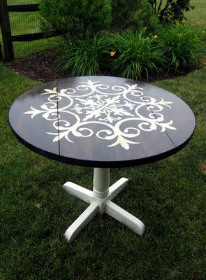Painted/stenciled table.
