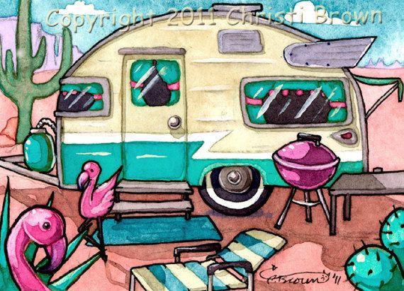 Retro Travel Trailer Park Flamingos Art Print 1950s vintage camper 5 x 7 turquoise blue, magenta pink
