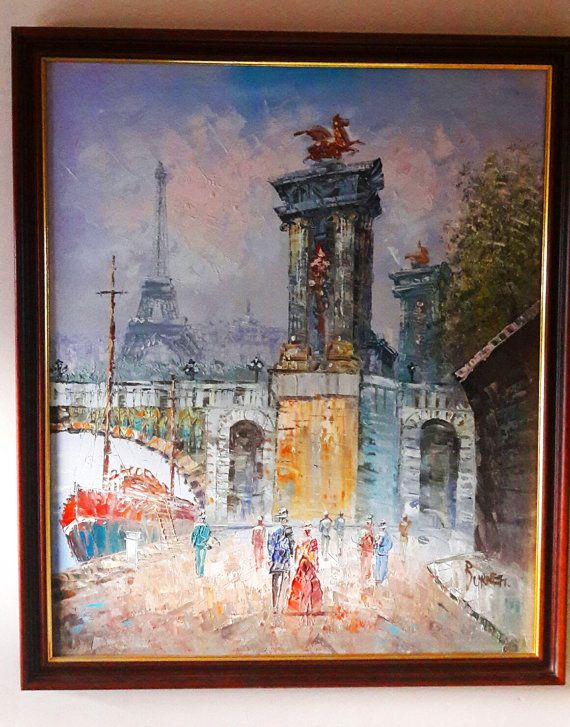 Fabulous Kitsch Large Original Framed Oil Painting on by RAVERETRO