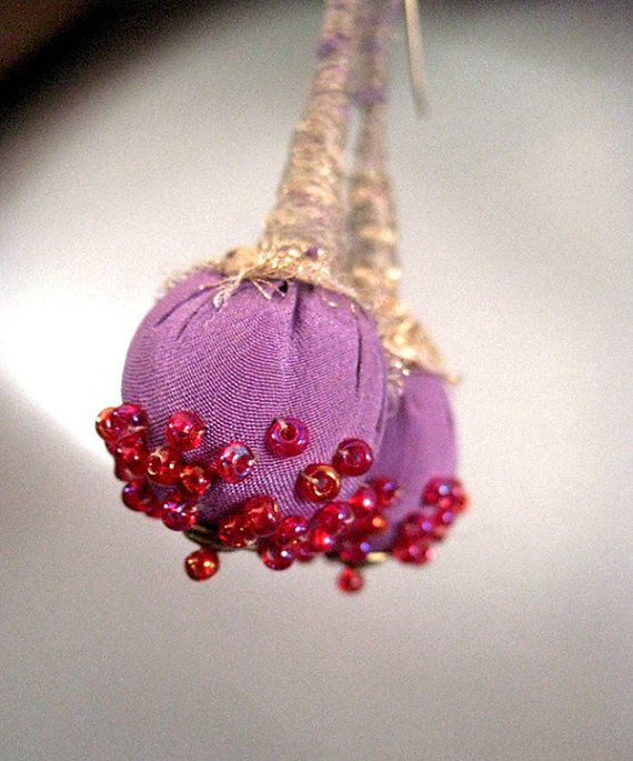 Courtney -  Wrapped Textile Fiber Earrings - Handmade - Art To Wear - Upcycled - Recycled
