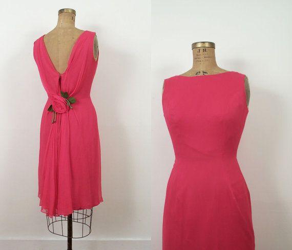 1960s Pink Chiffon Dress / 60s Cocktail Dress