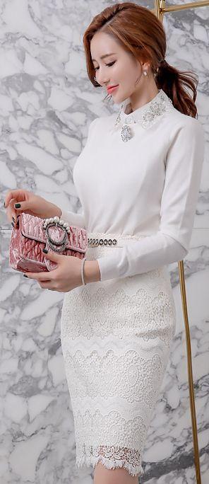 StyleOnme_Feminine Full Lace Pencil Skirt #allwhite #lace #feminine #skirt #koreanfashion #kstyle #kfashion #seoul