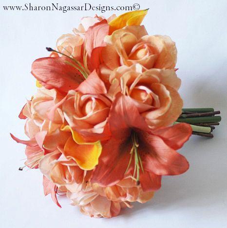 Pêche, corail, bouquet, fleurs Real Touch, fleurs de mariage en soie, roses, Lys calla, oriental / tigrés
