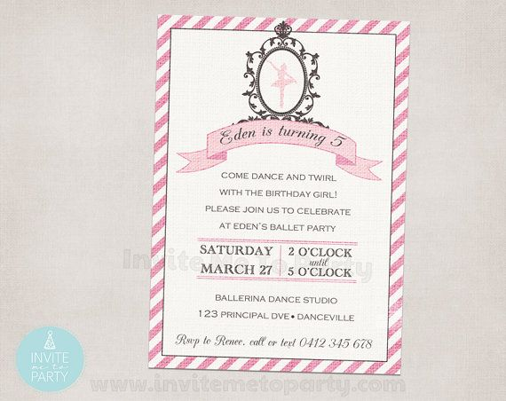 Vintage Ballerina Party Invitation PRINTABLE by InviteMe2Party