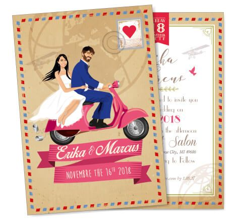 custom travel wedding invitation and save the date card announcement - airmail vintage style - kraft paper just married vespa - world voyage - caricature avatar - personalized cartoon portrait from your photos