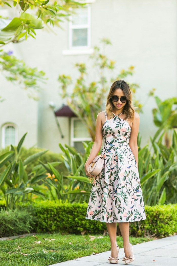 Ace and locks petite fashion blogger floral midi dress for Spring wedding dress guest