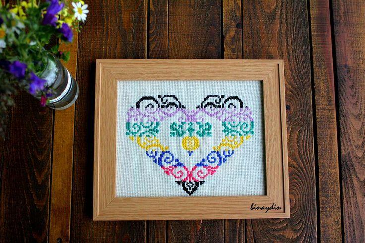 cross stitch , diy , heart , binaydin