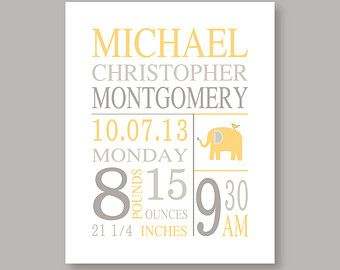 Birth Stat print baby girl nursery wall art baby by YassisPlace