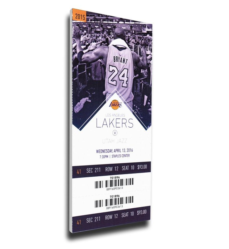 Los Angeles Lakers Wall Art - Kobe Bryant Final NBA Game Canvas Mega Ticket